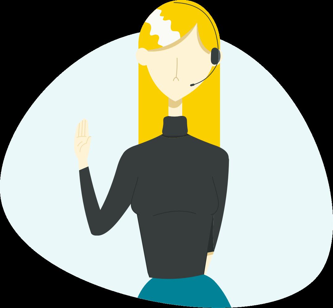 Ilustración, una mujer de recepción dispuesta a atender