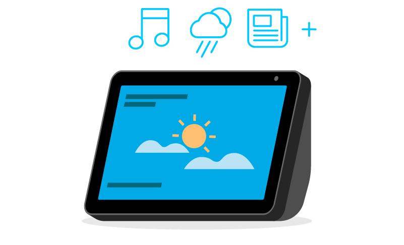 3. Pídele a Alexa música, noticias, el clima y más.