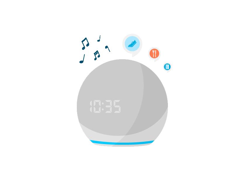 Pídele a Alexa música, información del clima, noticias y más.