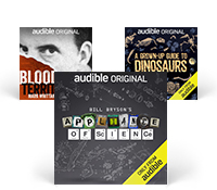 A selection of Audible Original Podcast cover art