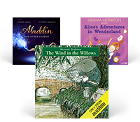 A selection of Kids' Collection audiobook cover art