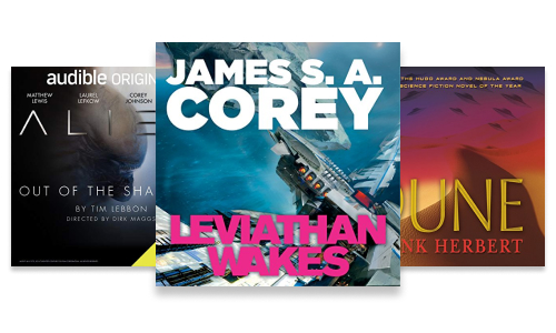 Science fiction audiobook series including Dune, Alien and The Expanse