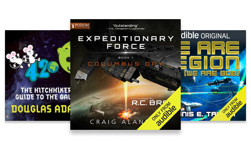 Audiobook series about space travel such as Expeditionary Force, Bobiverse and Hitchhikers Guide to the Galaxy