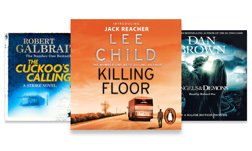 Crime & thriller audiobook series, Cormoran Strike, Jack Reacher and Robert Langdon
