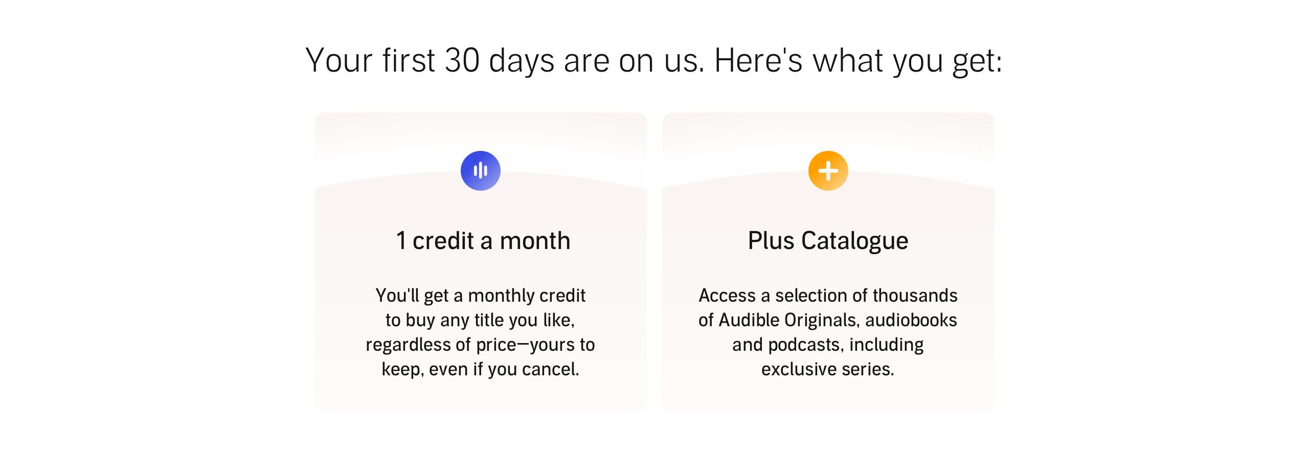 What's included Each Month? Audible members gets 1 credit a month and access to the entire Plus Catalogue.