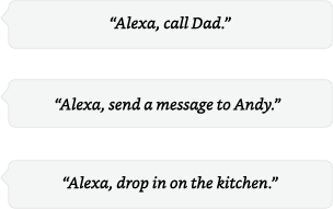 Alexa, call Dad | Alexa, send a message to Andy | Alexa, drop in on the kitchen