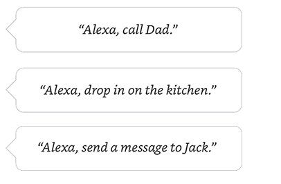Alexa, call Mum. | Alexa, drop in on the kitchen. | Alexa, send a message to Jack.