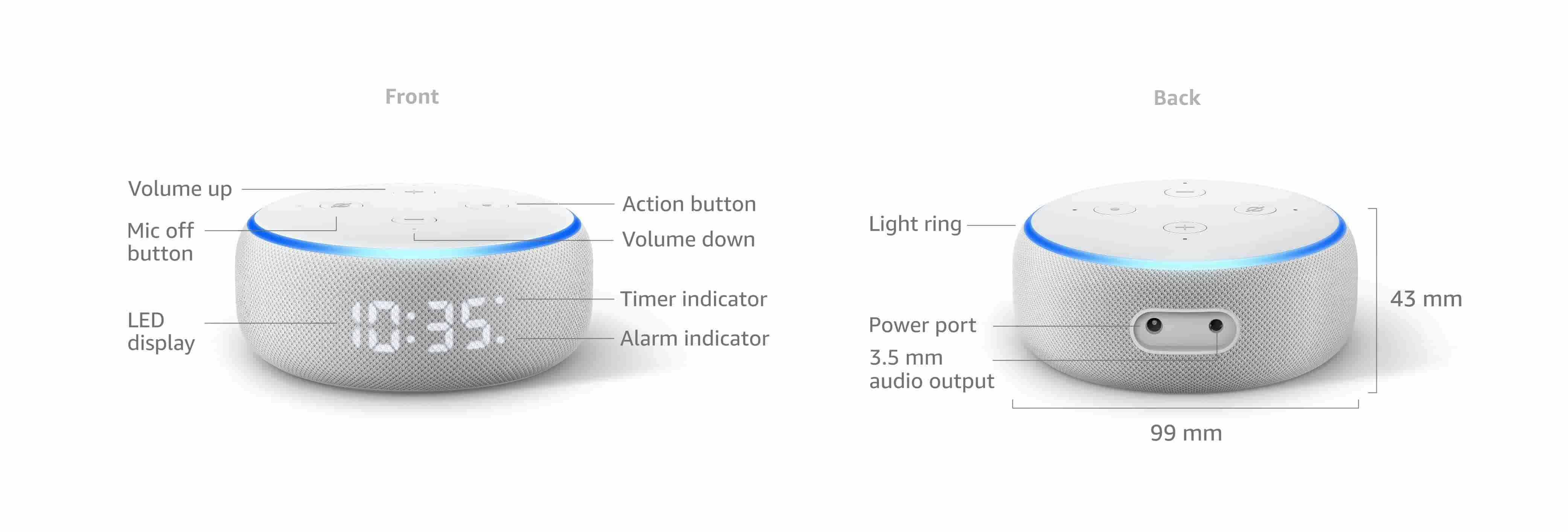 Echo Dot (3nd Generation) with clock