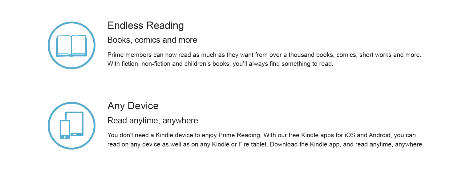 Prime members can now read as much as they want from over a thousand books, comics, short works and more. With fiction, non-fiction, and children's books, you'll always find something to read.