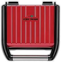 George Foreman Steel Family Grill Rood, 5 Porties, Geborsteld RVS, Snel, Rechtop Opbergen, Verstelbare Voet, Flexibel...