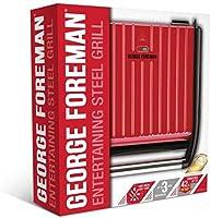 George Foreman Steel Entertaining Grill, Rood, Minder vet, Afdruipbakje, Eenvoudig Schoonmaken, Anti-aanbaklaag, Snel...