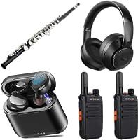 Diverse koptelefoons, oortjes, muziekinstrumenten, portofoons en audioapparatuur