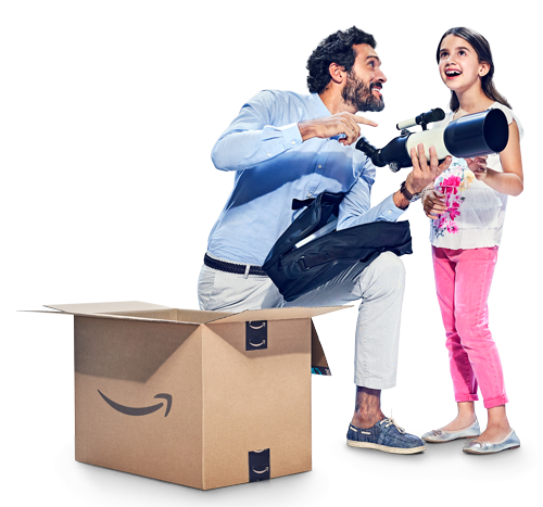 Man and child smiling opening an Amazon box