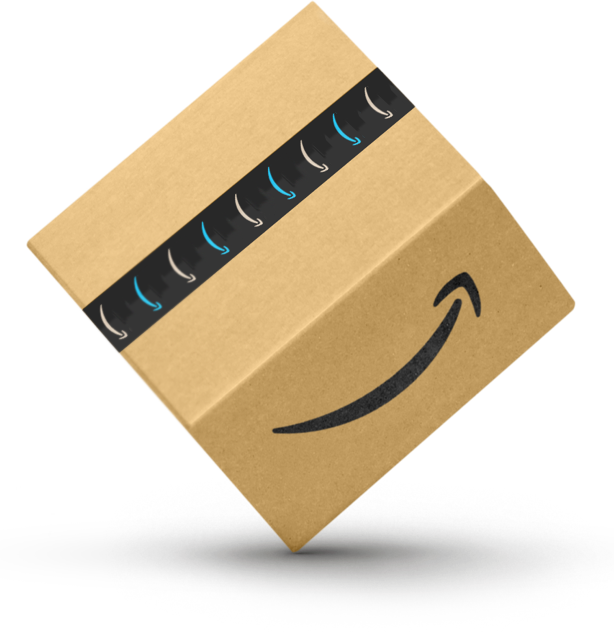 Man and woman smiling holding an Amazon box