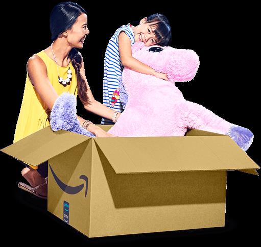 Büyük bir doldurulmuş pembe at içeren bir Amazon paketi açan Amazon müşterileri