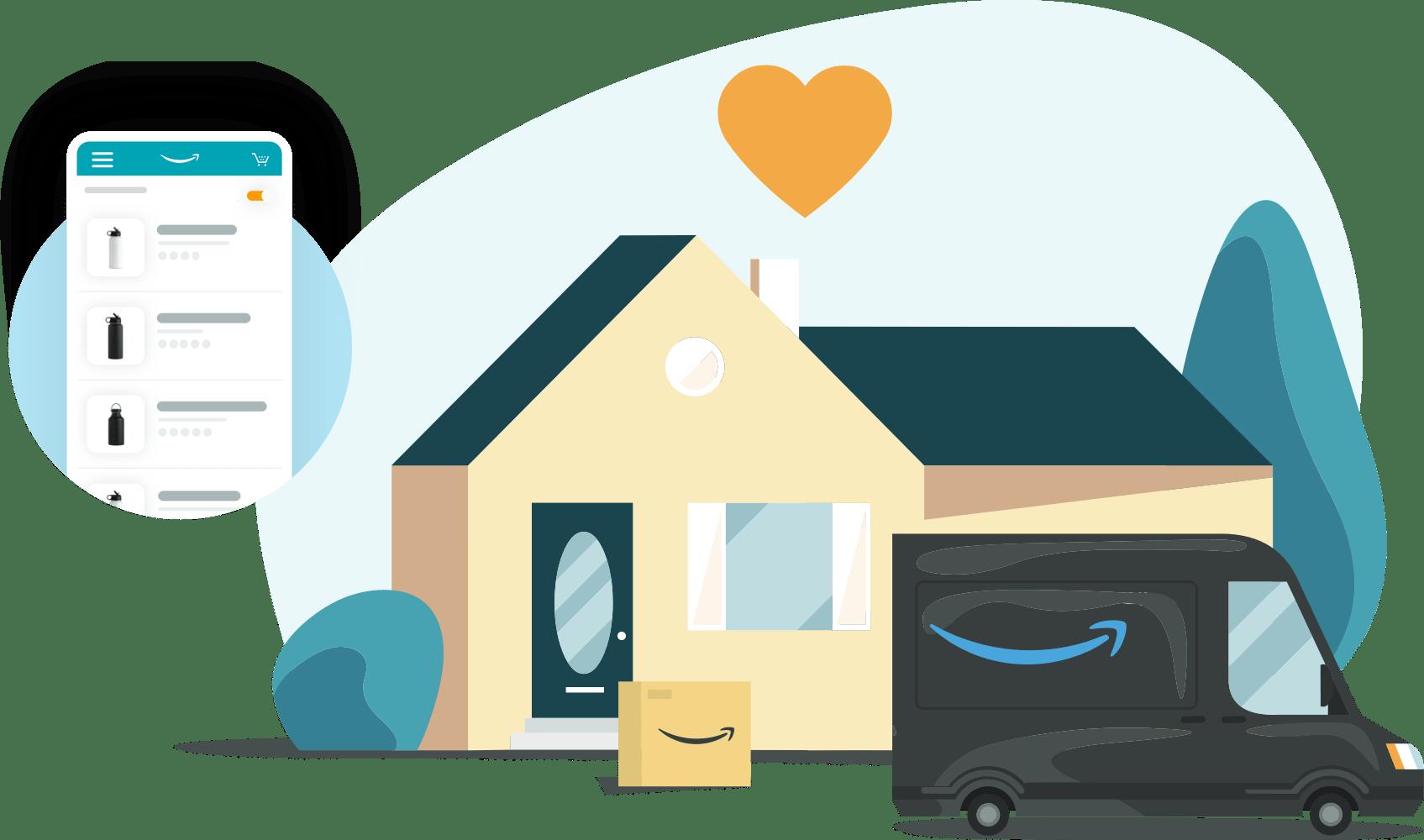Illustration av en Amazon Prime-lastbil som levererar ett paket till ett förortshem