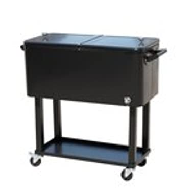 Outsunny 80 QT Rolling Ice Chest Portable Patio Party Drink Cooler Cart - Black