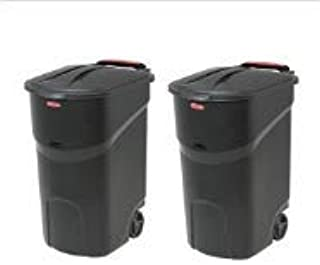 2 pc 45 Gallon Wheeled Trash can Garbage Container Outdoor Plastic Waste bin Basket Black - Trash can with lid - Kitchen T...