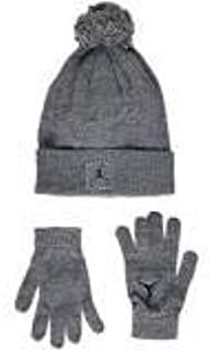 3442f666118c94 Amazon.com  Nike Boys Kids  Youth Air Jordan Jumpman Wolf Grey Beanie  Winter Ski Hat Cap and Gloves Set