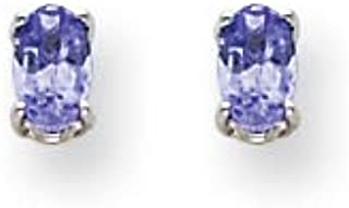 14K White Gold Simulated Tanzanite Earrings (Approximate Measurements 5mm x 3mm)