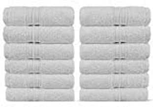 Luxury Premium Turkish Cotton 12-Piece Washcloths, Long-Stable 20/2, 2 Ply Turkish Ring-Spun Cotton Yarn Makes The Luxe-Factor, Eco-Friendly, (White)