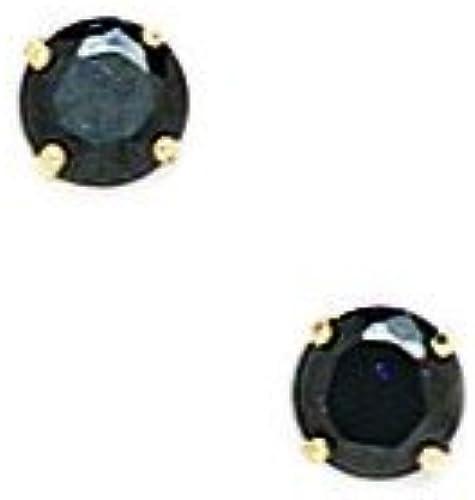 14ct GelbGold Schwarz4 mm Ohrringe Zirkonia rund Korb - JewelryWeb