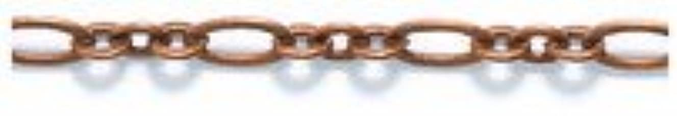 Shipwreck Beads Electroplated Brass Ring and Oval Link Chain, 2mm, Metallic, Antique Copper, 3-Feet, Unfinished