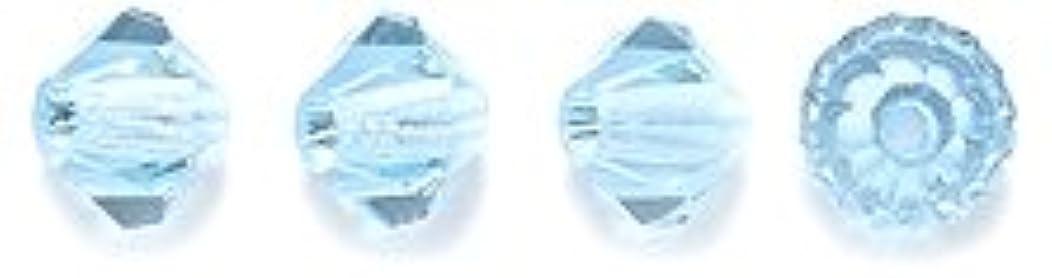 Preciosa 4-Mm Czech Crystal Diamond/Bicone Bead, Aquamarine, 144-Piece