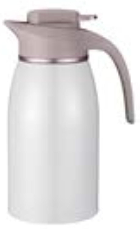 Thermos-Kaffeekanne aus Edelstahl, doppelwandige, vakuumisolierte Kaffeekanne-Isolationskanne - auslaufsicher (Kapazitt   2L, Farbe   Wei)