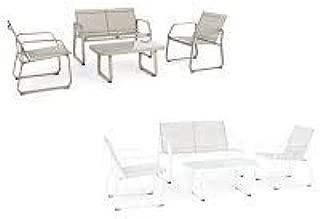 Bianco Set salotto completo da giardino Axten Bizzotto arredo da esterno moderno 4 Pz
