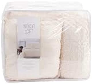 Indigo Loft 5pc Square Eyelash Comforter Set King 100% Cotton Cream/Vanilla