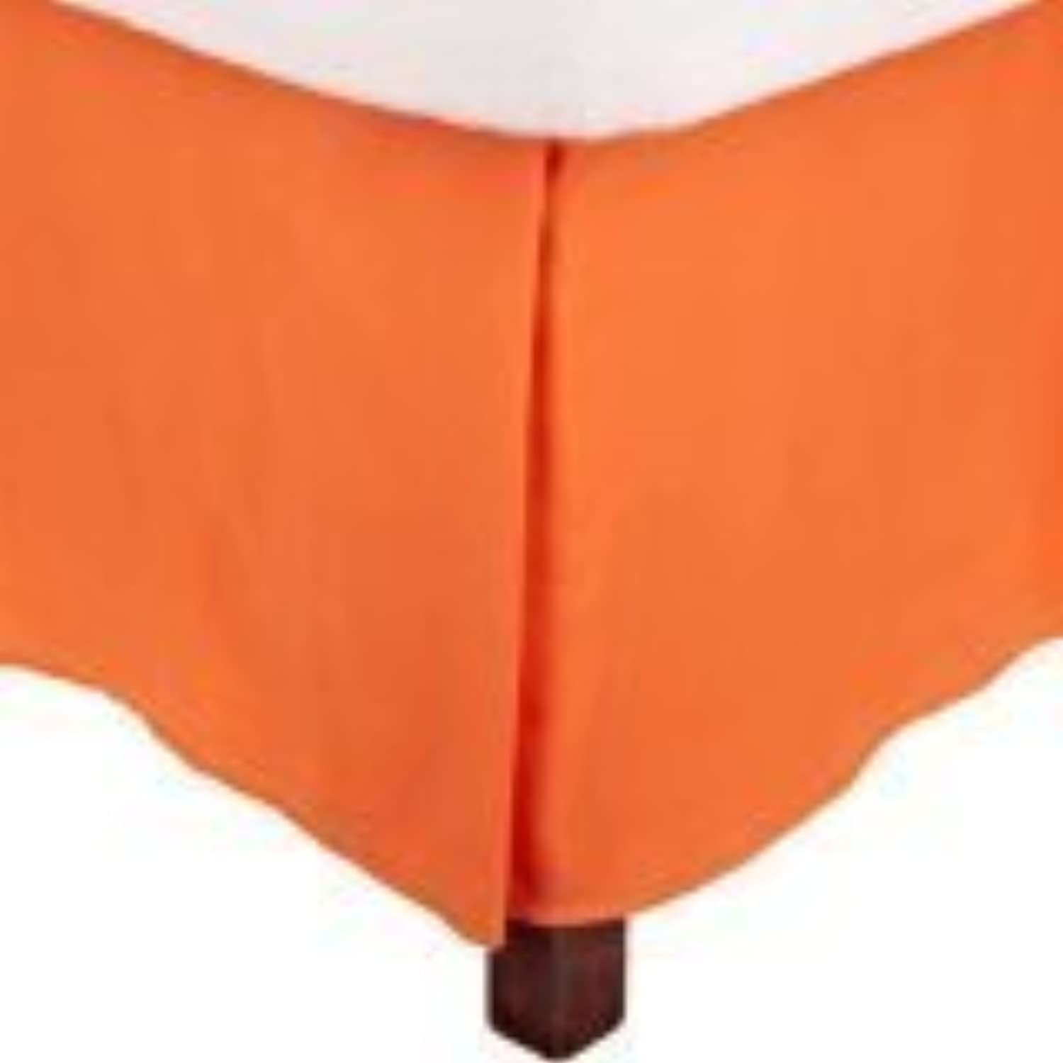 Egyptian Cotton, 1-Piece Split Corner 14'' Drop Length Tailored Bed Skirt (orange Solid, Full size)-400 Thread Counts