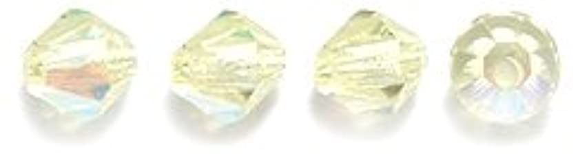 Preciosa 4-Mm Czech Crystal Diamond/Bicone Bead, Jonquil Aurora Borealis, 144-Piece