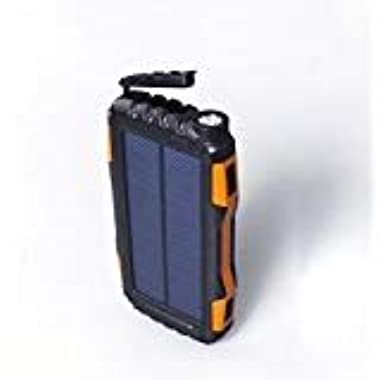 HENRYTECH 25000mAh Solar Charger Waterproof Portable Solar Power Bank with USB Dual Input Port Phone Charger for Outdoors, with Strong LED Light, for iPad iPhone Android Cellphones (Orange)