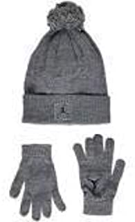 Nike Boys Kids' Youth Air Jordan Jumpman Dark Wolf Grey Beanie Winter Ski Hat Cap and Gloves Set, Size 8/20
