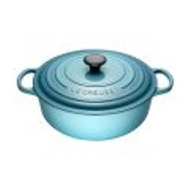 Le Creuset LS2552-3017 Signature Enameled Cast Iron Wide Round Dutch Oven, 6-3/4 quart, Caribbean