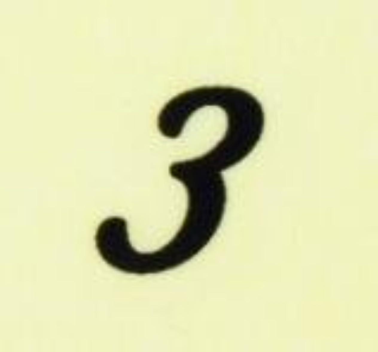 協力するダーツスパイ【数字ネイルシール】1筆記体《3》BK/各1シート9枚入