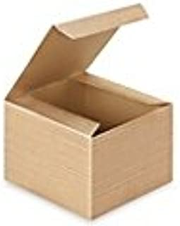 A1BakerySupplies Preimer High Quality Kraft Pinstripe Brown Treat Gift Boxes (5 in X 5 in X 3 12 in 10 pk)