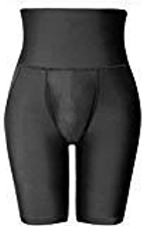 Men High Waist Abdomen corset waist body shapers shorts Male Stretch Fitness Double Base layers Compression Tight pants, Black