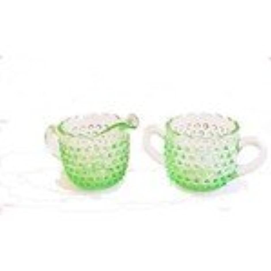 L.E. Smith Hobnail Lime Green Glass Cream and Sugar Set