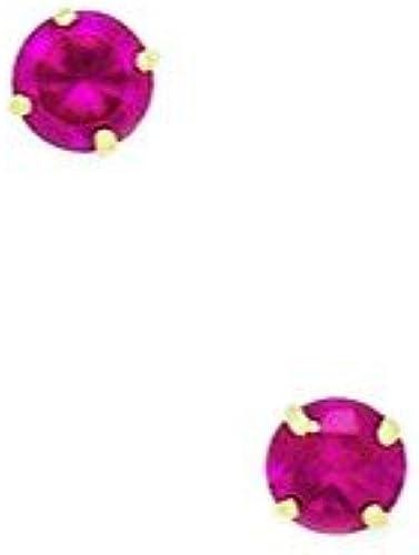 14 Karat (585) GelbGold, Juli-Geburtssteine, 4 mm, rund, Zirkonia, Set Ohrringe JewelryWeb