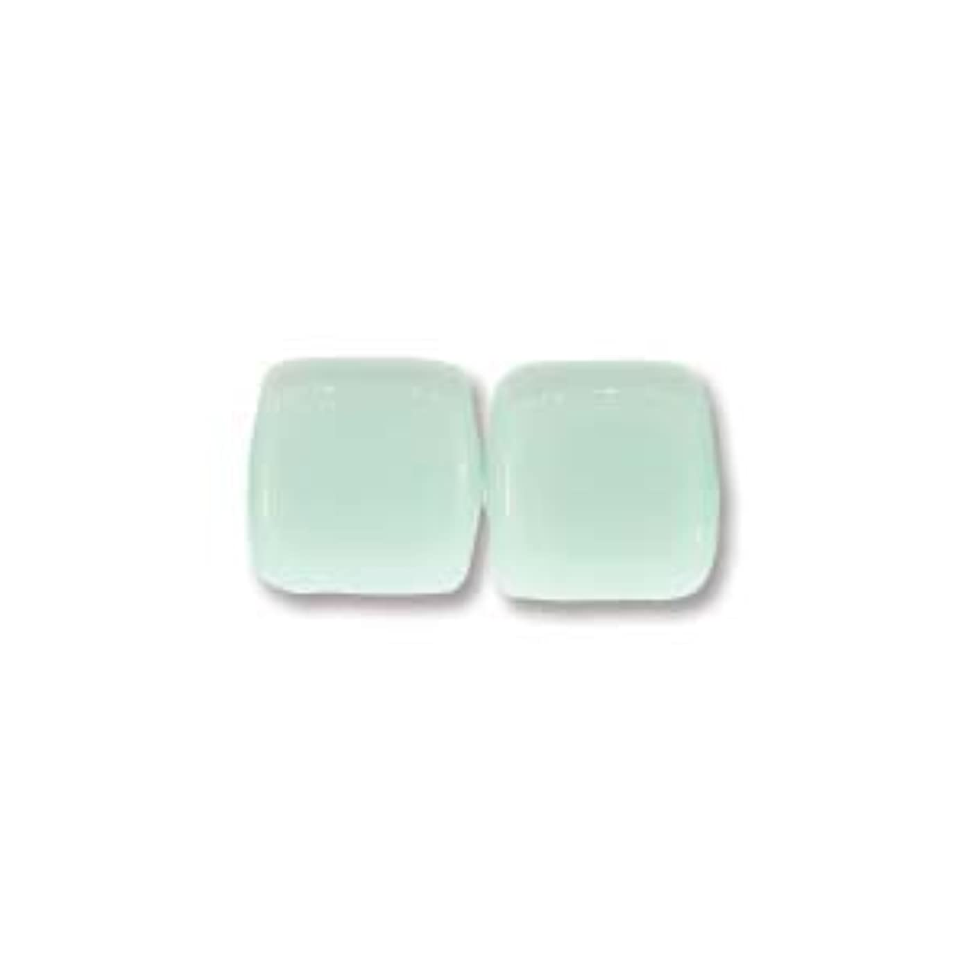 6mm Czech Two Hole Tile Beads - Opaque Pale Turquoise (50)