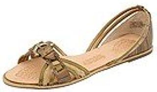 Naughty Monkey Women's Shredded Card Sandal,Gold,10 M
