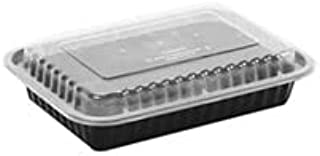 Black Base Meal Prep Food Storage Containers (Rectangular) 25 Pieces, 1125 ML