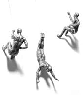 3x Large Antique Silver Climbing Abseiling Trio Hanging Ornaments Figures Set of 3 Climbing Men Wallhanging Figurines Abse...