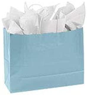 "SSWBasics Large Powder Blue Paper Shopping Bags - 16""L x 6""D x 12 ½""H - Case of 100"