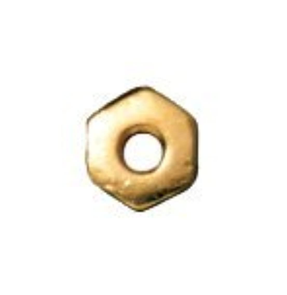 TierraCast Hex Heishi Beads, 4mm, Bright 22K Gold Plated Pewter, 25-Pack