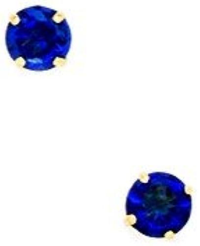 ventas en linea 14ct amarillo amarillo amarillo piedra del mes de septiembre azul4mm circonitas cúbicas y base de juego de cesta de Juego de pendientes de - JewelryWeb