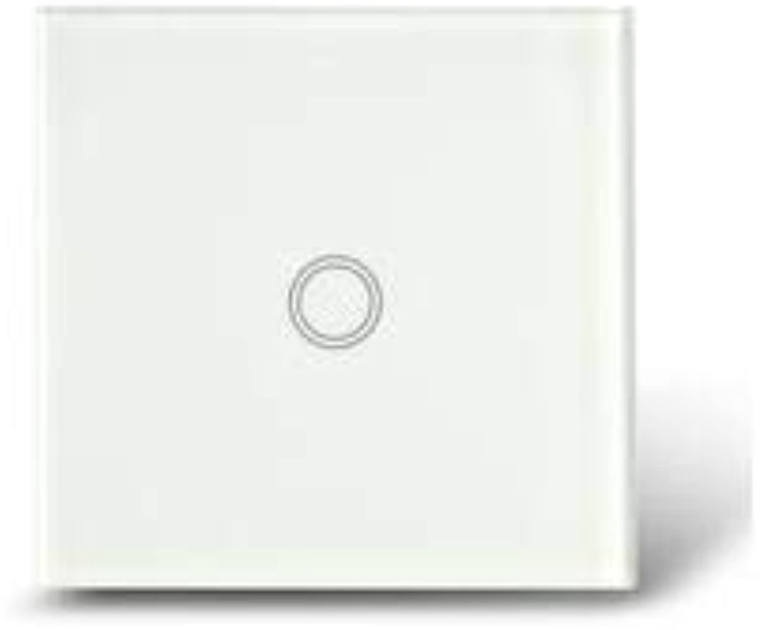 MakeGood EU Standard Touch Switch 1 Gang 1 Way Crystal Glass Panel,Wall Switch AC 110250V 1000W for Light  (color  White)