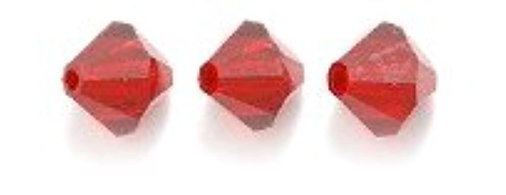 Swarovski 5328 Xilion Bicone Diamond Beads, Transparent, Siam, 6-mm, 24/Pack